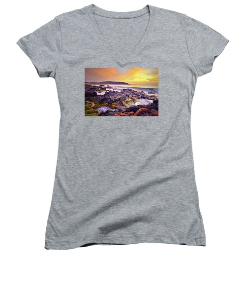 Women's V-Neck T-Shirt (Junior Cut) featuring the photograph A Gentle Wave At Sunset by Tara Turner