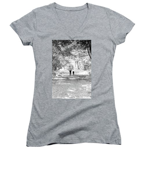 A Girl And Her Dog Women's V-Neck