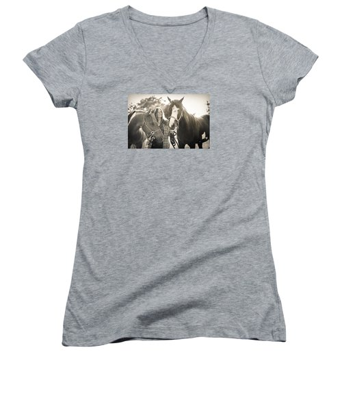 A Girl And Horses In The Sun Sepia Women's V-Neck T-Shirt (Junior Cut) by Kelly Hazel