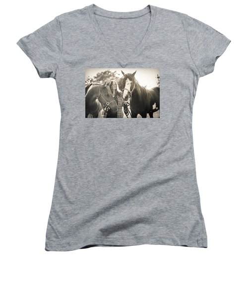 A Girl And Horses In The Sun Sepia Women's V-Neck