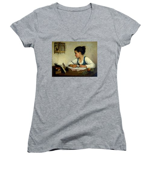 A Girl Writing. The Pet Goldfinch Women's V-Neck