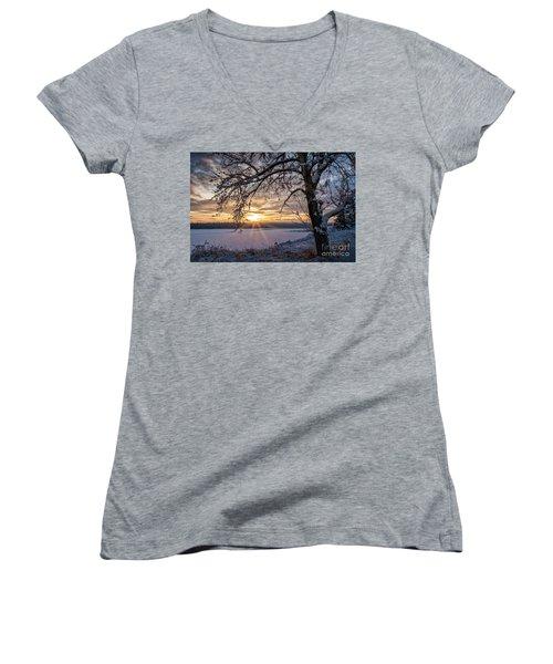 A Glenmore Sunset Women's V-Neck T-Shirt (Junior Cut) by Brad Allen Fine Art