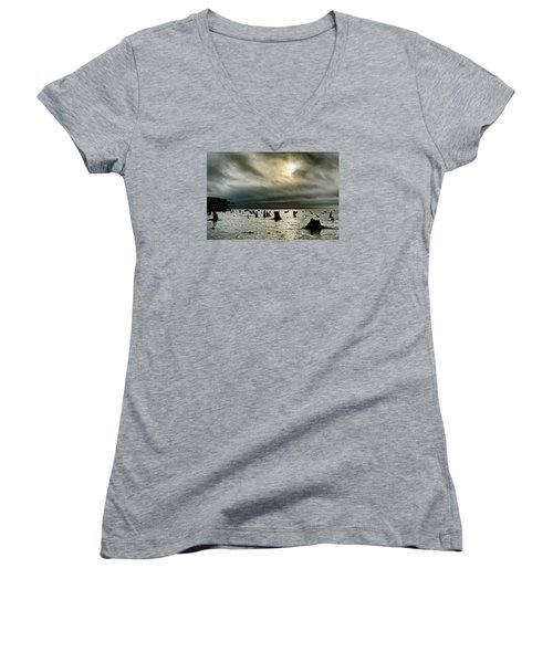 A Glimer Of Light Women's V-Neck T-Shirt (Junior Cut) by Robert Charity