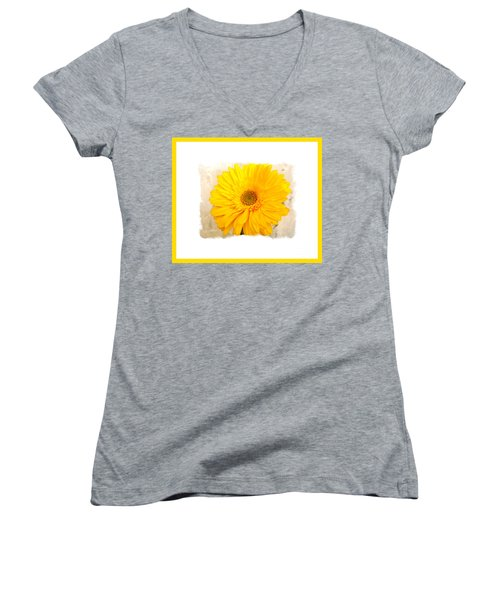 Women's V-Neck T-Shirt (Junior Cut) featuring the photograph A Grand Yellow Gerber by Marsha Heiken