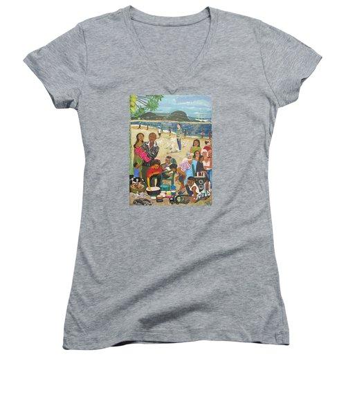 Women's V-Neck T-Shirt (Junior Cut) featuring the painting A Heavenly Day - Lumley Beach - Sierra Leone by Mudiama Kammoh