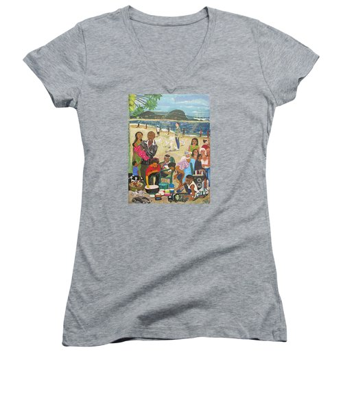 A Heavenly Day - Lumley Beach - Sierra Leone Women's V-Neck (Athletic Fit)