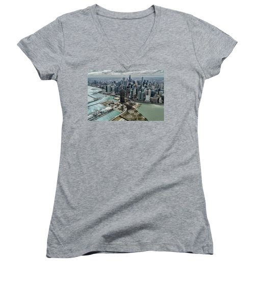 A Helicopter View Of Chicago's Lakefront Women's V-Neck