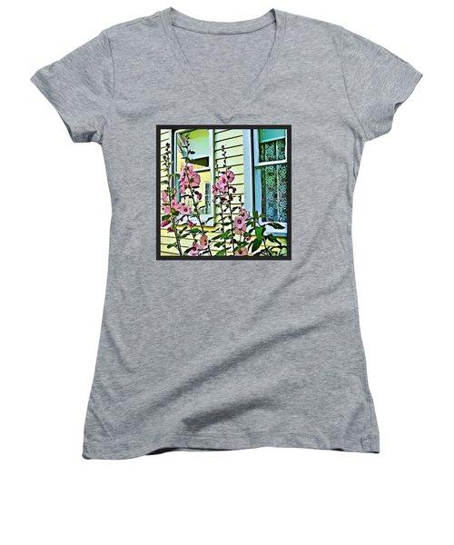 Women's V-Neck T-Shirt (Junior Cut) featuring the digital art A Holly Hocks Morning by Mindy Newman