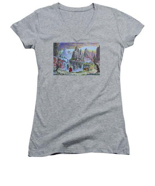 Women's V-Neck T-Shirt (Junior Cut) featuring the painting A Journey's End by Anthony Lyon