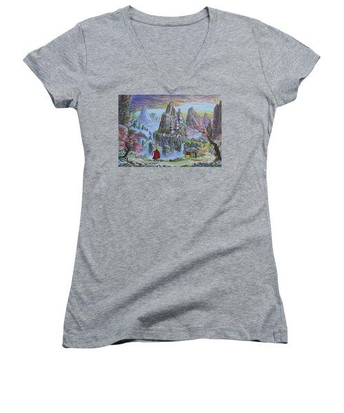 A Journey's End Women's V-Neck T-Shirt (Junior Cut) by Anthony Lyon