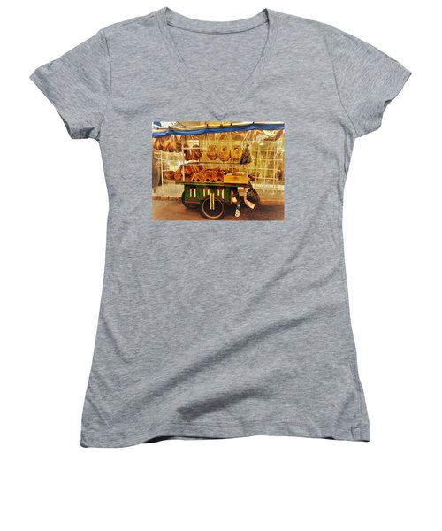 A Kaake Street Vendor In Beirut Women's V-Neck T-Shirt (Junior Cut) by Funkpix Photo Hunter