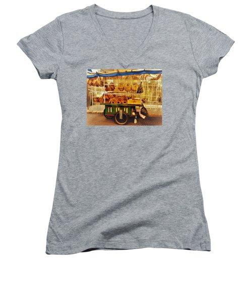 A Kaake Street Vendor In Beirut Women's V-Neck T-Shirt