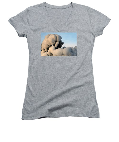 Women's V-Neck T-Shirt (Junior Cut) featuring the photograph A Lick Of Snow On The Bush by Paul SEQUENCE Ferguson             sequence dot net