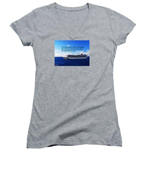 A Life Journey Women's V-Neck T-Shirt (Junior Cut) by Gary Wonning