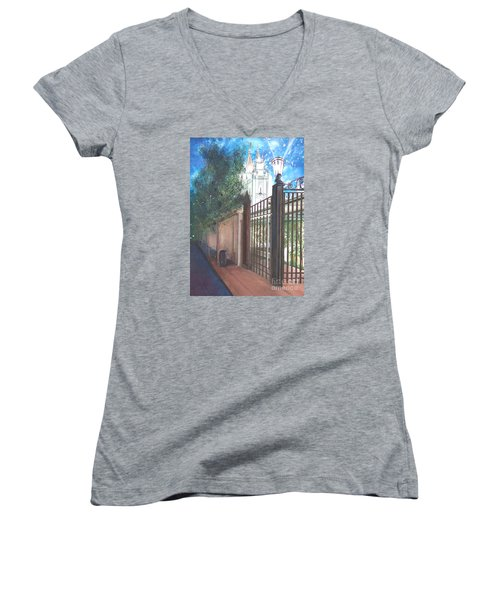 Women's V-Neck T-Shirt (Junior Cut) featuring the painting A Light Unto The World by Jane Autry