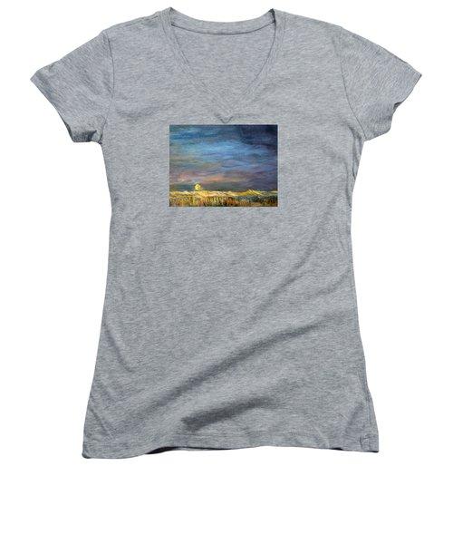 A Little Moon Magic Women's V-Neck T-Shirt (Junior Cut) by Michael Helfen