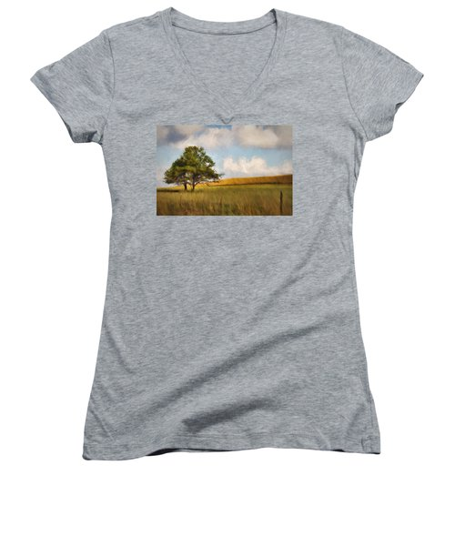Women's V-Neck T-Shirt (Junior Cut) featuring the photograph A Little Shade by Lana Trussell