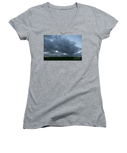 Alone In The Face Of The Storm Women's V-Neck