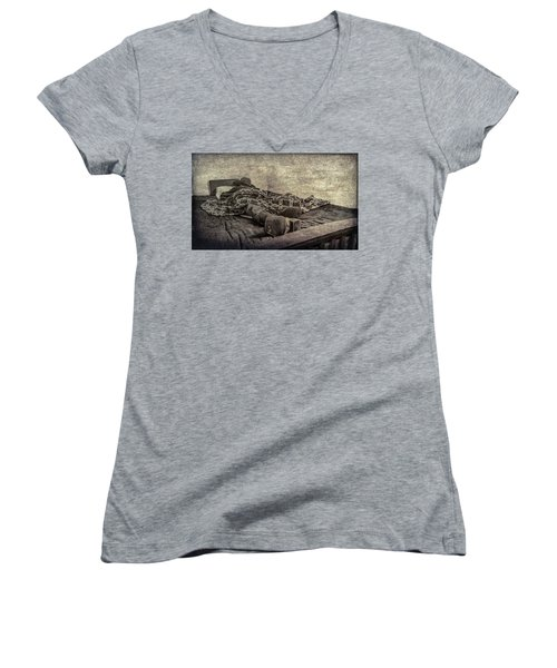 Women's V-Neck T-Shirt (Junior Cut) featuring the photograph A Long Day On The Trail by Annette Hugen