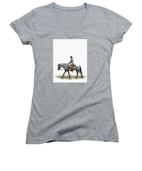 A Long Day On The Trail Women's V-Neck T-Shirt (Junior Cut) by David and Carol Kelly