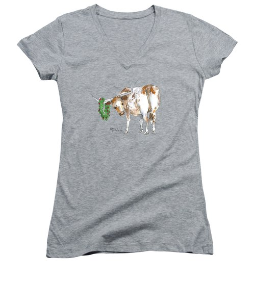 A Longhorn Christmas Leader, Come On In Women's V-Neck