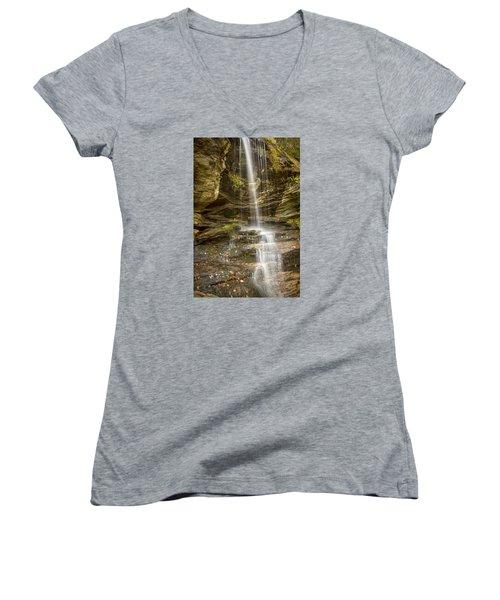 Women's V-Neck T-Shirt (Junior Cut) featuring the photograph A Look At Window Falls by Bob Decker