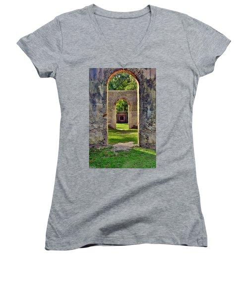 A Look Through Chapel Of Ease St. Helena Island Beaufort Sc Women's V-Neck
