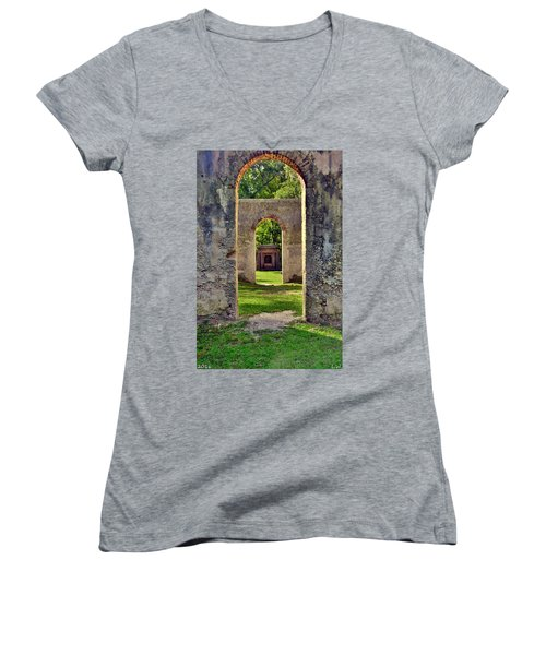 A Look Through Chapel Of Ease St. Helena Island Beaufort Sc Women's V-Neck