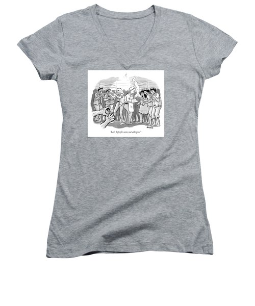A Man And A Woman Stand In The Middle Of A Horde Women's V-Neck