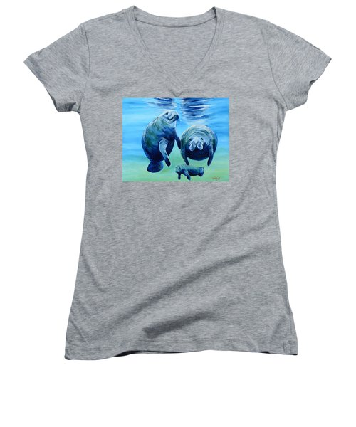 A Manatee Family Women's V-Neck (Athletic Fit)