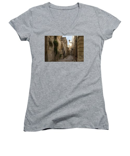 A Marble Staircase To Nowhere - Tiny Italian Lane In Syracuse Sicily Women's V-Neck