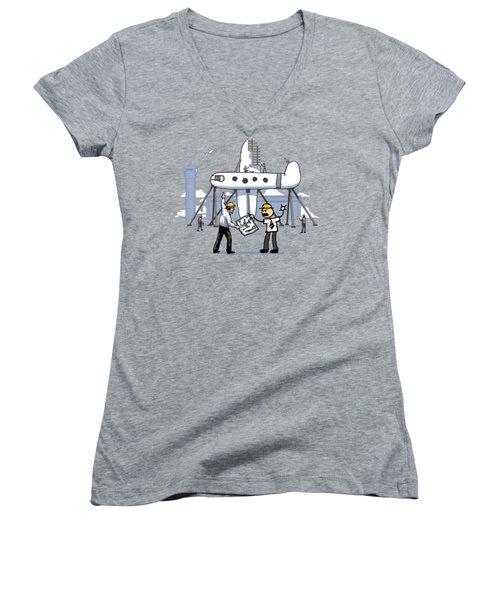 Women's V-Neck T-Shirt (Junior Cut) featuring the digital art A Matter Of Perspective by Ben Hartnett