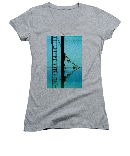 Women's V-Neck T-Shirt (Junior Cut) featuring the photograph A Modicum Of Maritime Minimalism by Chris Lord