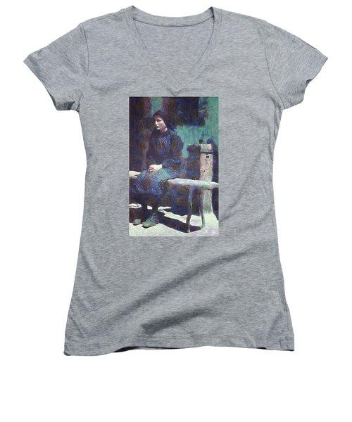 Women's V-Neck T-Shirt (Junior Cut) featuring the digital art A Moment Of Meditation by Gun Legler