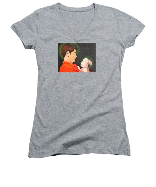 A Moment With Dad Women's V-Neck T-Shirt