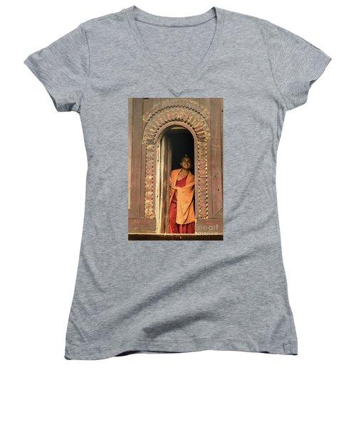 A Monk 4 Women's V-Neck T-Shirt (Junior Cut)