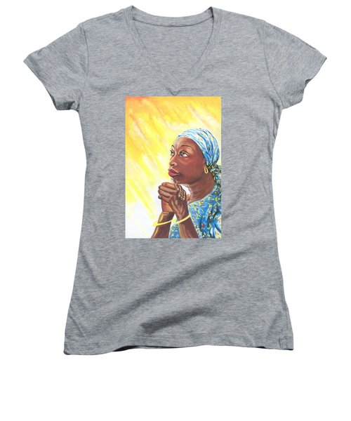 A Mothers Prayer Women's V-Neck T-Shirt (Junior Cut) by Emmanuel Baliyanga