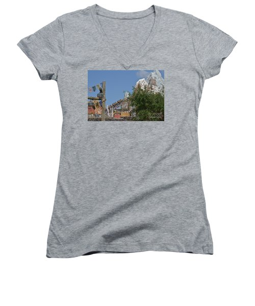 Women's V-Neck T-Shirt (Junior Cut) featuring the photograph A Mountain Of Fun by Carol  Bradley