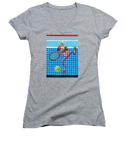 A Net Violation Women's V-Neck T-Shirt (Junior Cut) by John Lautermilch