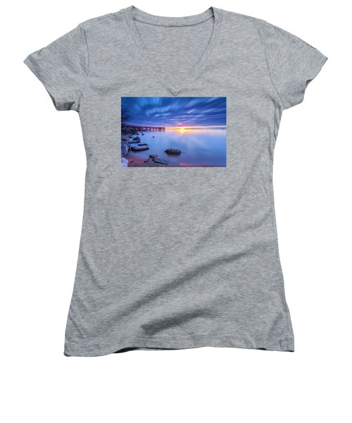 A New Dawn Women's V-Neck T-Shirt (Junior Cut) by Edward Kreis