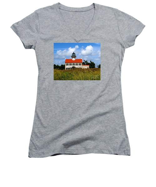 A New Day At East Point Light Women's V-Neck T-Shirt