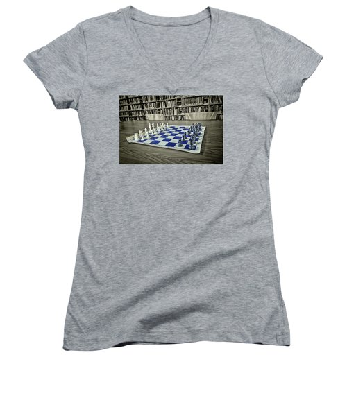 Women's V-Neck T-Shirt featuring the photograph A Nice Game Of Chess by Lewis Mann