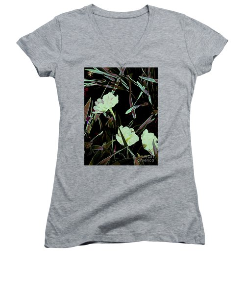Women's V-Neck T-Shirt (Junior Cut) featuring the photograph A Noir Mystery Tulip Trio by Nancy Kane Chapman