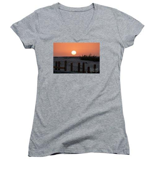 A November Sunset Scene Women's V-Neck T-Shirt (Junior Cut) by Arik Baltinester
