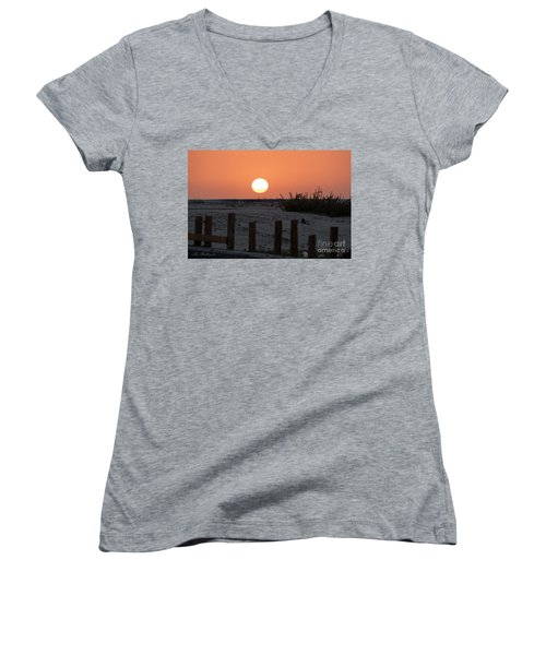 A November Sunset Scene Women's V-Neck T-Shirt