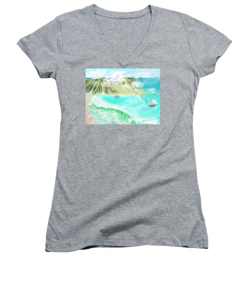 A Ocean Some Where Women's V-Neck (Athletic Fit)