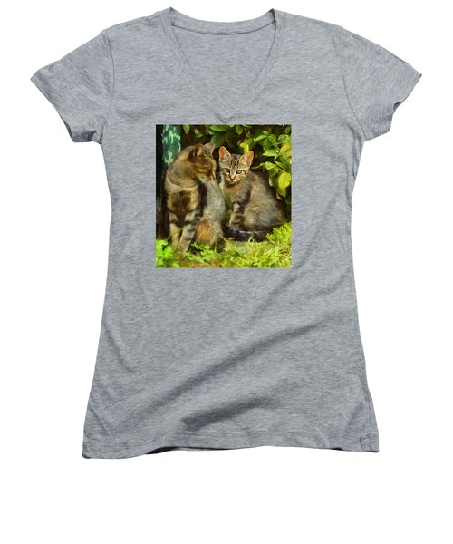 A Pair Of Feral Cats Women's V-Neck