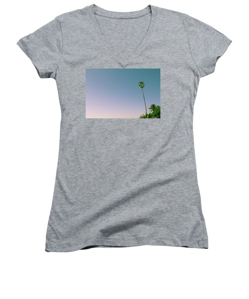 Women's V-Neck featuring the photograph A Palm On Its Own by Matthew Wolf