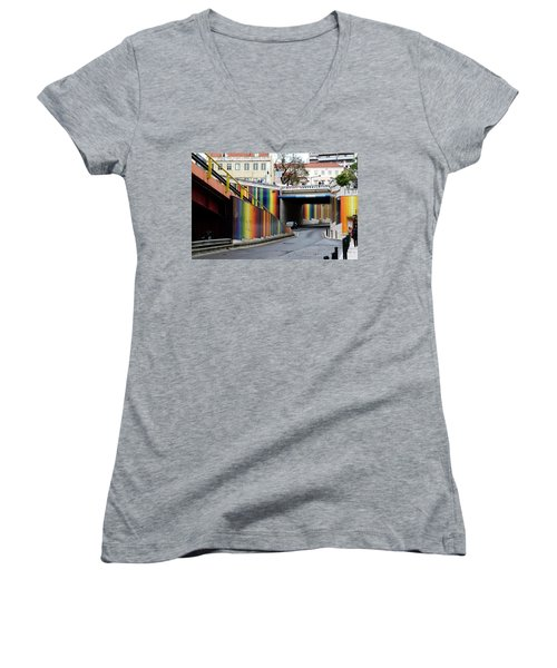 A Throughway Of Many Colors Women's V-Neck T-Shirt