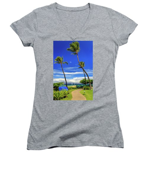 A Path In Kaanapali Women's V-Neck T-Shirt (Junior Cut) by James Eddy